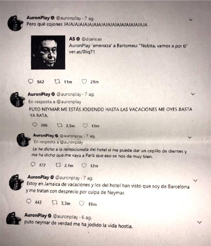 Los pantallazos de los tuits citados en la denuncia por el F.C. Barcelona