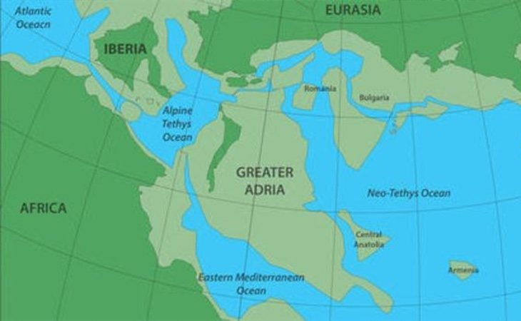 El continente Gran Adria ocupaba inicialmente un espacio similar a Groenlandia y terminó con una masa similar a la Antártida