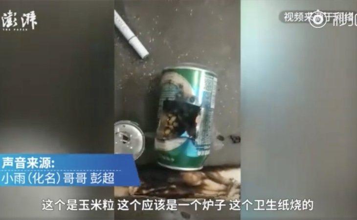 Vídeo publicado por Weibo en el que se aprecia cómo quedó la lata tras el incendio