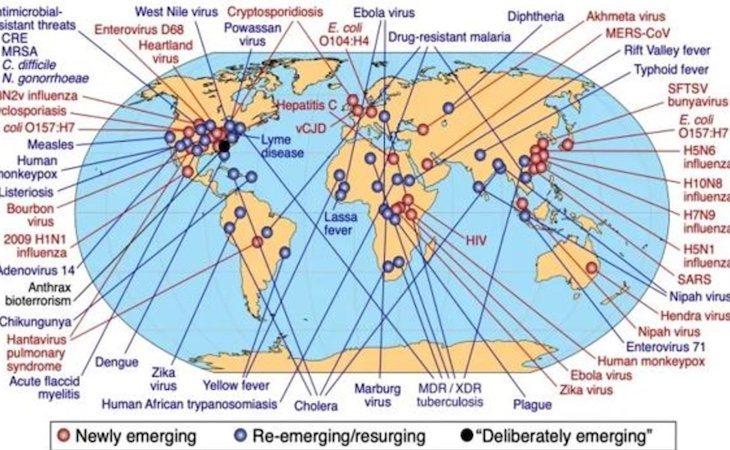 Mapa de las enfermedades emergente sy reemergentes en el mundo según la OMS