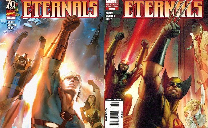 Doble portada original del número 7 de Eternals: Destino Manifiesto