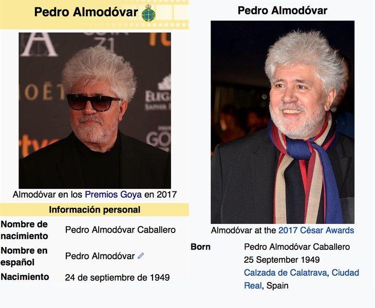 Wikipedia no se aclara con la fecha de nacimiento de Pedro Almodóvar