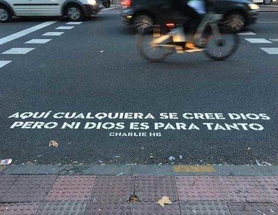 """Censura: El Ayuntamiento de Madrid borra un verso """"blasfemo"""" de un paso de peatones"""