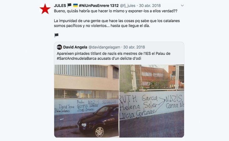 Uno de los mensajes publicados por Ferrán Jolís en su perfil de Twitter