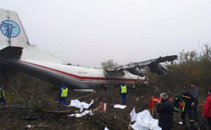Imagen del avión siniestrado en Ucrania