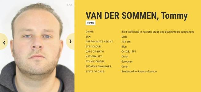 Ficha de Tommy Van der Sommen | Fuente: Europol