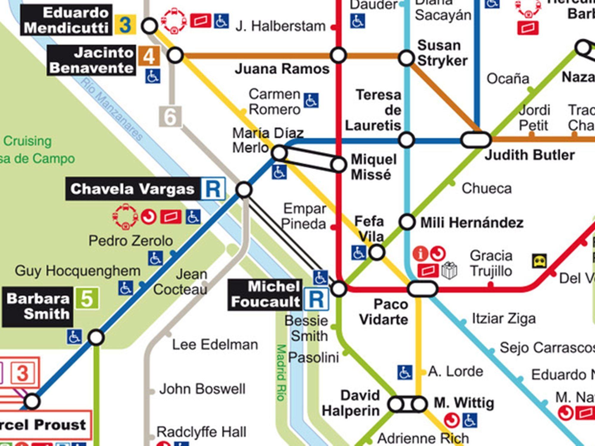 Así sería el plano de metro LGTBIQ de Madrid