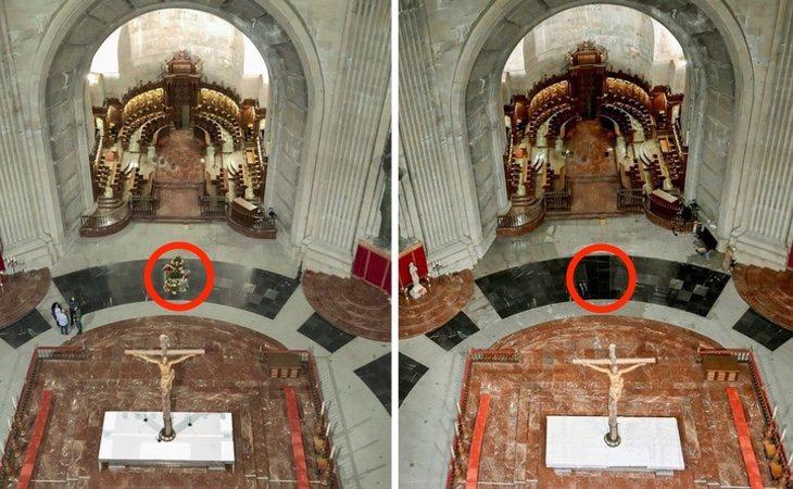 La fotografía enviada por Moncloa no recoge el precinto de la tumba,e n cuyo interior se han vertido las flores