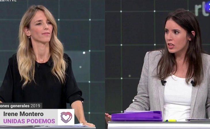 Cayetana Álvarez de Toledo e Irene Montero en el debate de portavoces de TVE