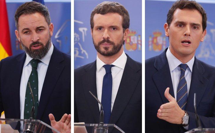 En la derecha, Santiago Abascal (VOX), Pablo Casado (PP) y Albert Rivera (Ciudadanos)
