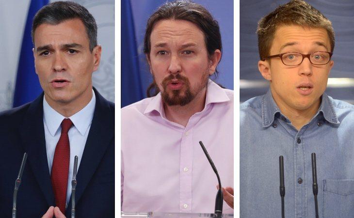 En la izquierda, Pedro Sánchez (PSOE), Pablo Iglesis (Unidas Podemos) e íñigo Errejón (Más País)