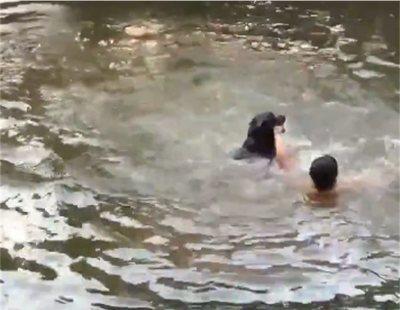 El rescate de un perro a su dueño en un estanque que se ha vuelto viral en Twitter