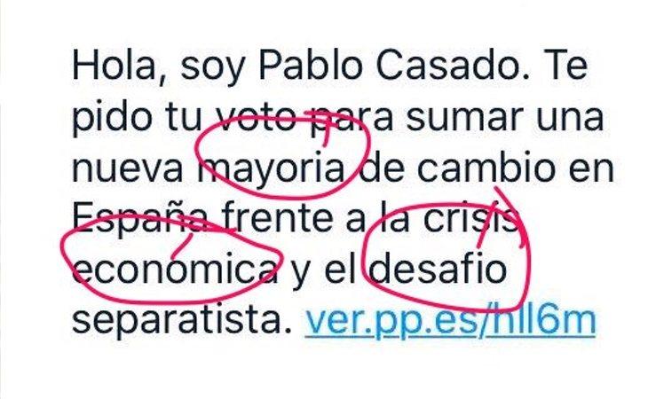 Pablo Casado pide el voto con un mensaje lleno de faltas de ortografía