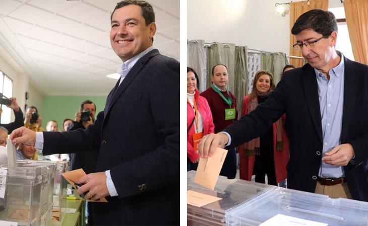 Juanma Moreno (PP) y Juan Marín (Cs), presidente y vicepresidente de la Junta de Andalucía, ya han ejercido su derecho al voto