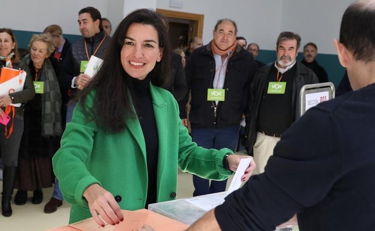 Rocío Monasterio, portavoz de VOX en la Asamblea de Madrid, ya ha votado