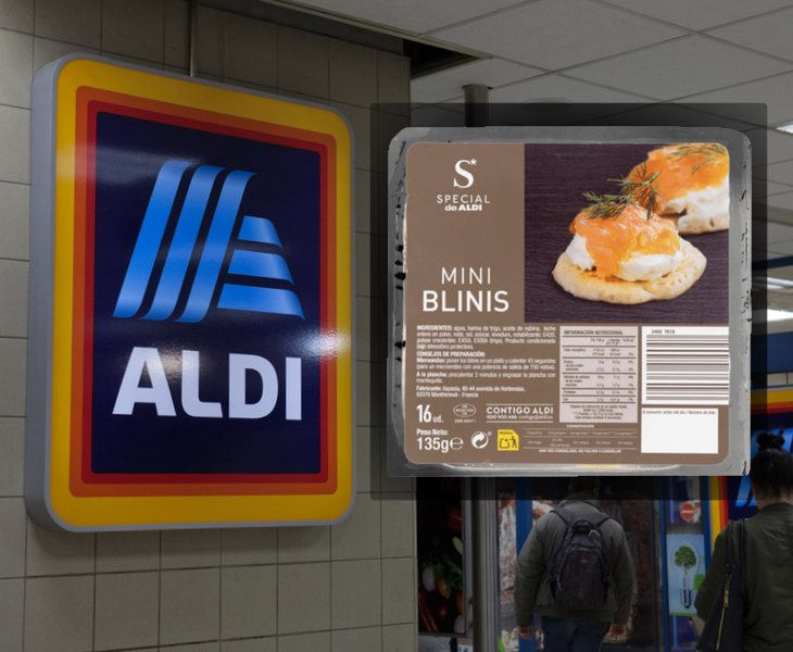 Envase del producto 'Mini Blinis', fabricado por la marca 'Special' de Aldi