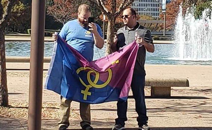 Asistentes a la manifestación del 'Orgullo Hetero' en Texas