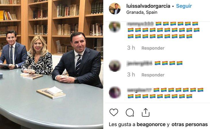 Instagram de Luis Salvador repleto de banderas LGTBI