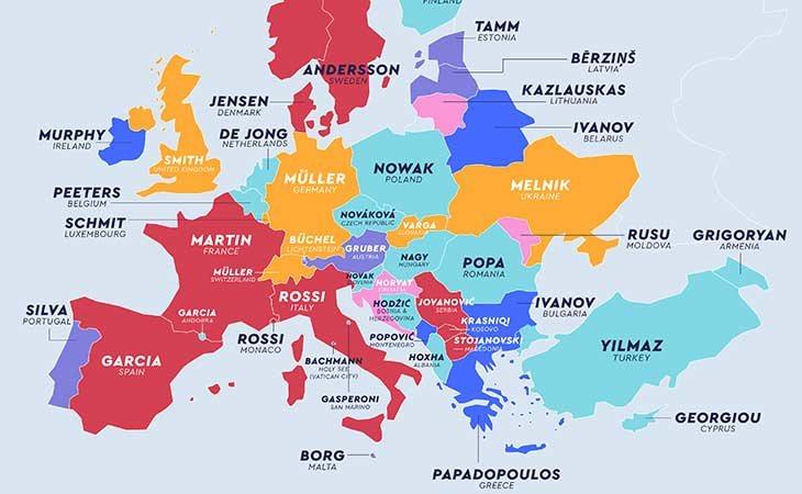 Apellidos más comunes en Europa