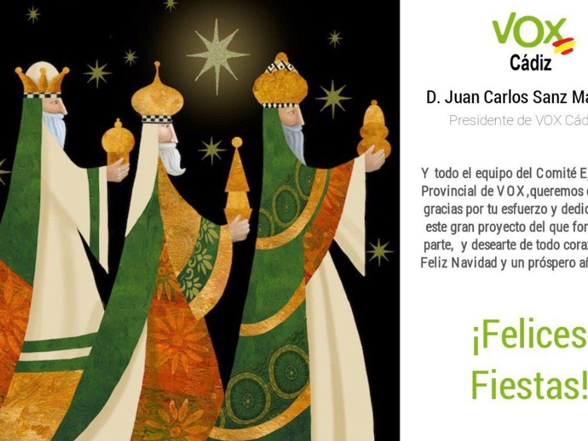 VOX envía una postal navideña a sus afiliados con tres reyes magos blancos