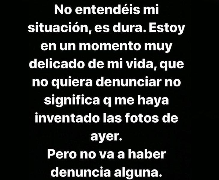 Mensaje de Valeria Quer publicado en Instagram