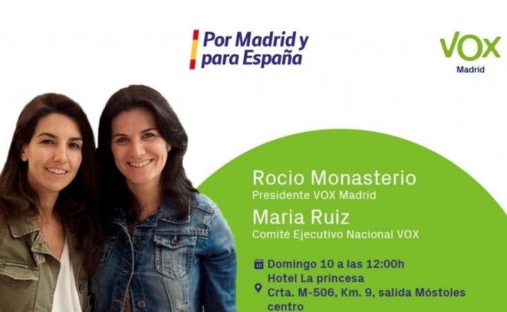 La candidata de VOX en el municipio, María Ruiz, mantiene una estrecha relación con Rocío Monasterio y su marido, Iván Espinosa de los Monteros