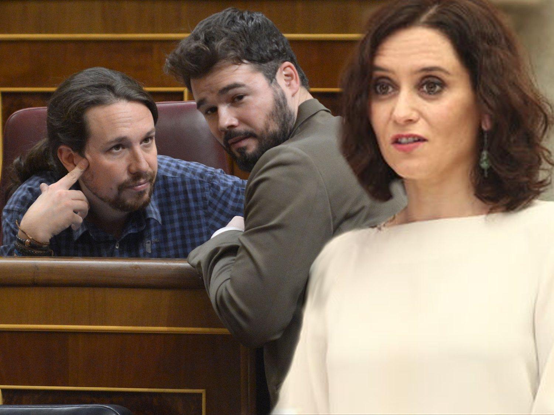 """Ayuso compara a Iglesias """"con los etarras"""" y al independentismo """"con las mayores matanzas"""""""