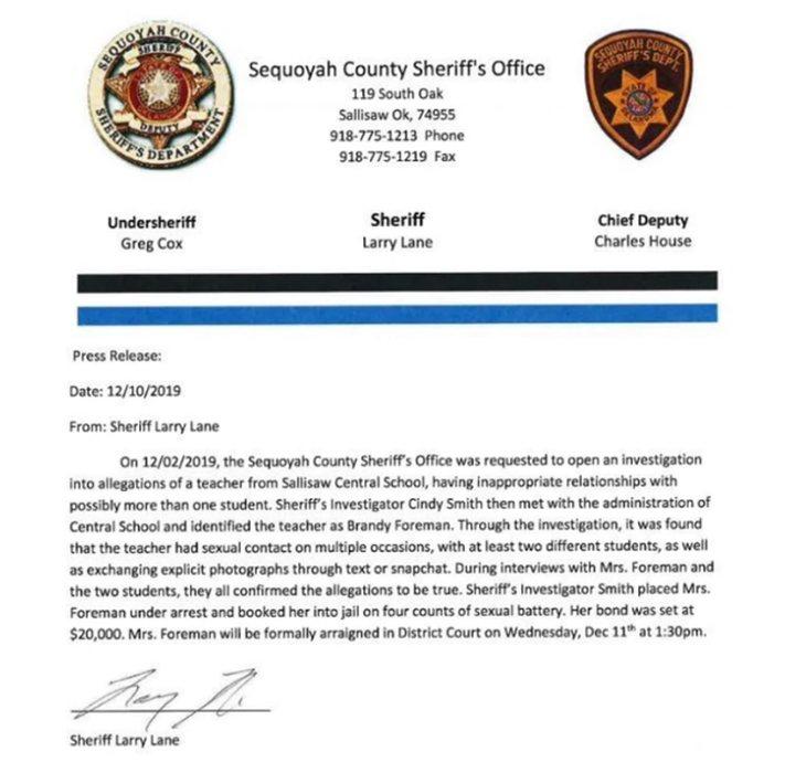 Informe oficial de la Oficina del Sheriff del Condado de Sequoyah (Oklahoma, Estados Unidos)