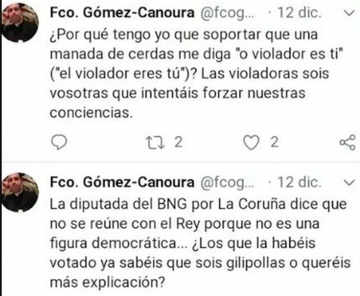 Los dos tuits publicados por el párroco, que posteriormente borró