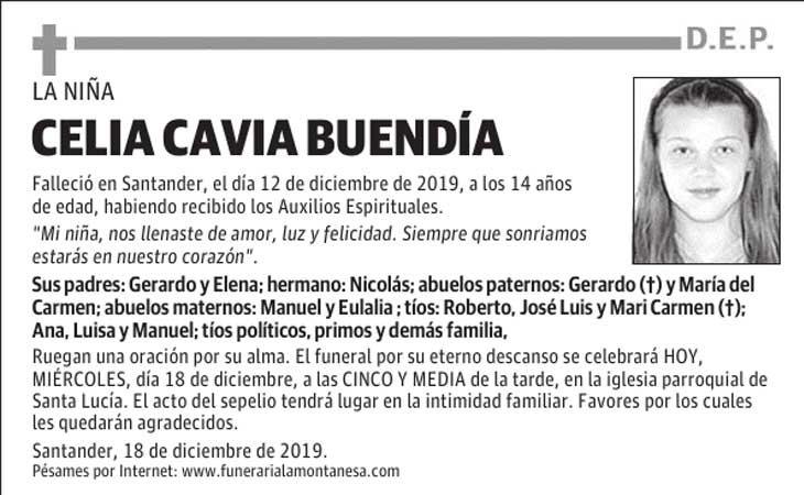 Esquela de Celia Cavia