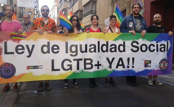 La FECyLGTB+ en una manifestación por la Ley de Igualdad | Fuente: Facebook