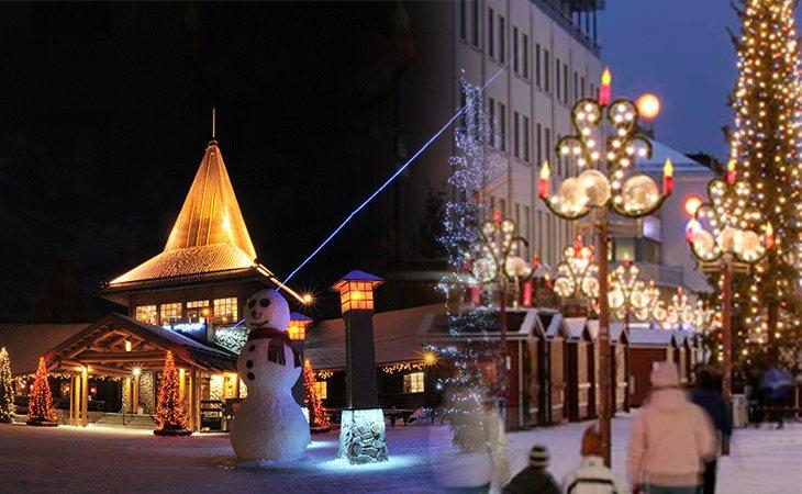 Laponia es uno de los destinos favoritos de los turistas para vivir la Navidad, en la foto, el Santa Claus Village (izquierda) y Rovaniemi (derecha)