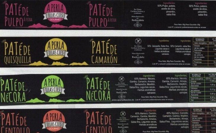 Las diferentes gamas de patés de la marca A Perla Illas Cies Gourmet, protagonistas de la alerta