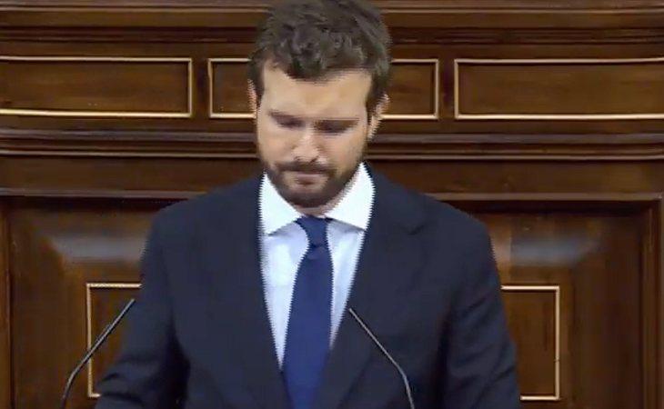 Pablo Casado (PP), a Sánchez: 'El problema no es que en España falte democracia, sino que pacta con los que atentan contra la democracia'