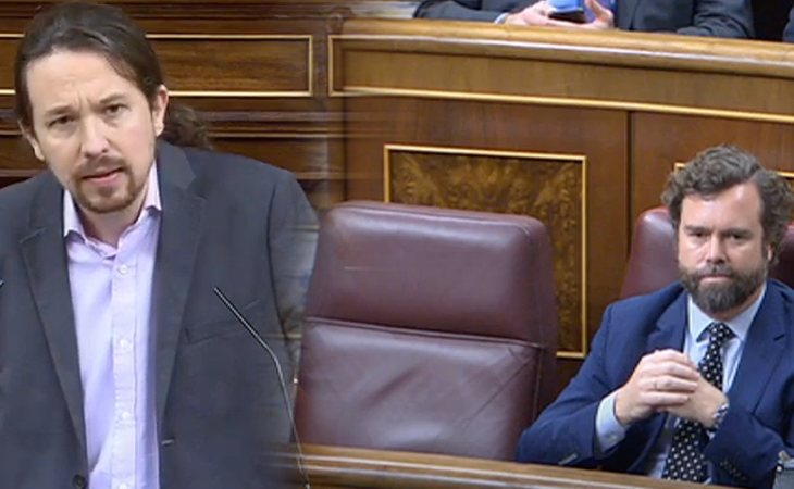 Reproche de Pablo Iglesias (UP) a Santiago Abascal (VOX), que se ausenta de la Cámara: 'Sus votantes no tienen problemas en votar a un facha, pero ...