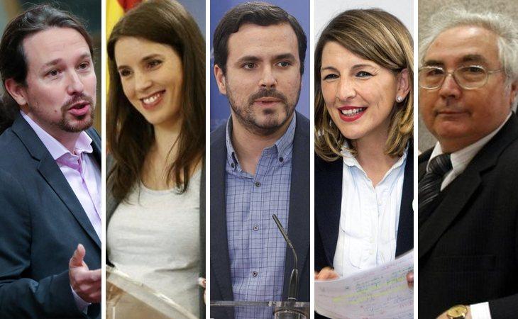 Pablo Iglesias, Irene Montero, Alberto Garzón, Yolanda Díaz y Manuel Castells
