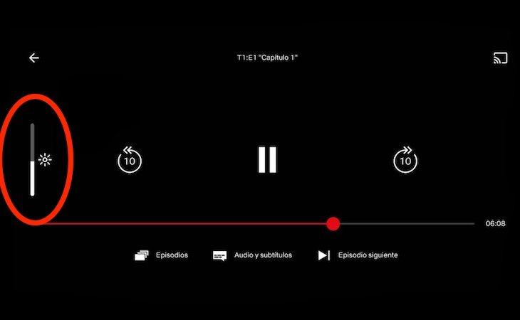 En Netflix aparecerá una barra con la que podremos configurar el brillo