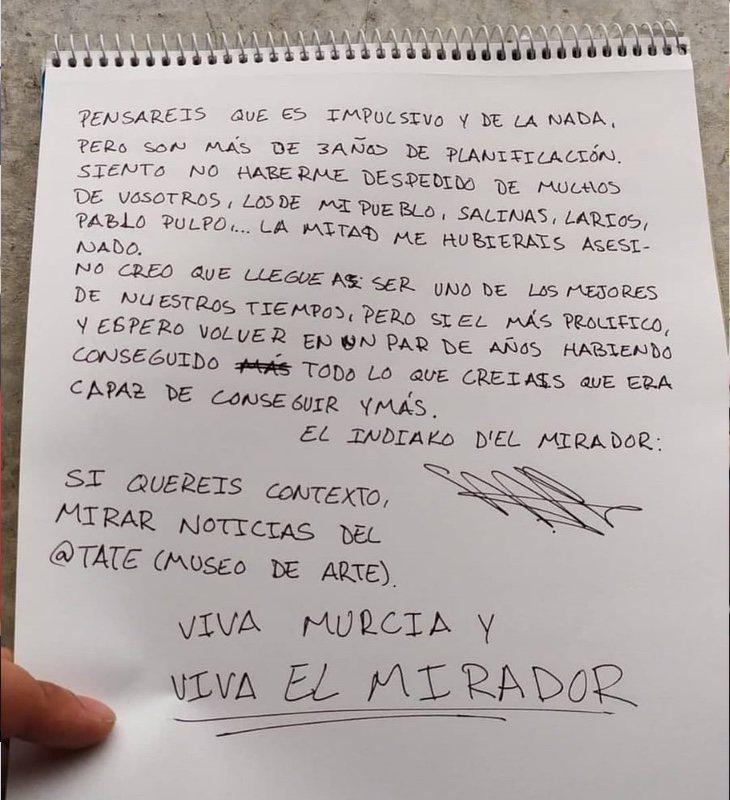 Carta redactada por el acusado