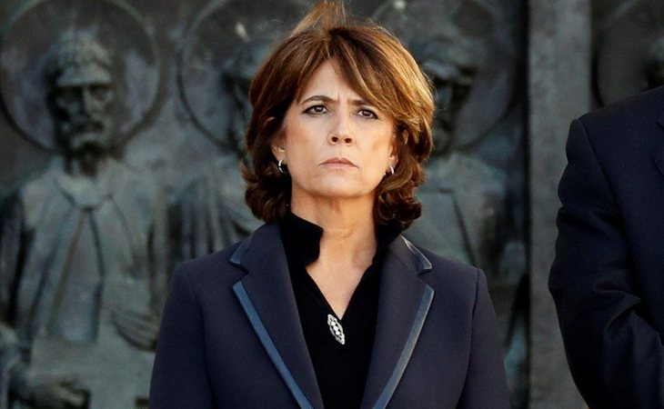 Dolores Delgado durante la exhumación de Francisco Franco