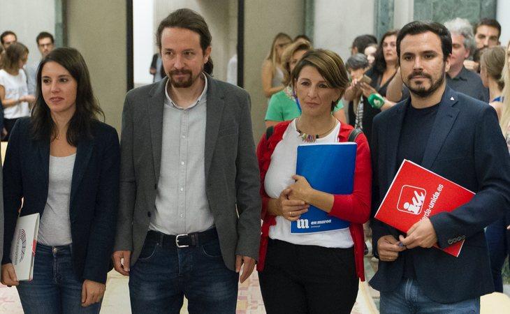 Irene Montero, Pablo Iglesias, Yolanda Díaz y Alberto Garzón, nuevos ministros del Gobierno de coalición