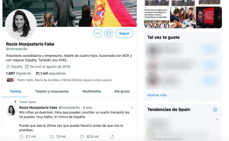 Imagen del Twitter Fake de Rocío Monasterio