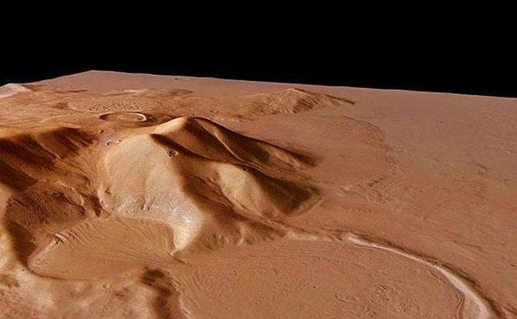 Un cráter en el planeta rojo