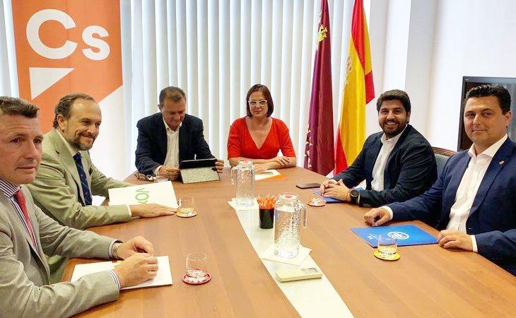 Reunión de PP, Ciudadanos y VOX en Murcia