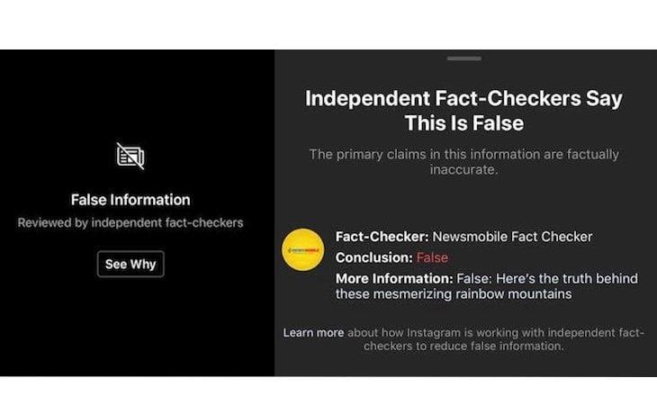 Instagram avisará del contenido falso