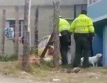 Graban a dos policías uniformados propinando una brutal paliza a un perro hasta la muerte