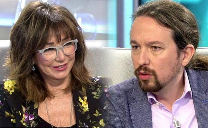 Ana Rosa Quintana y Pablo Iglesias durante la entrevista