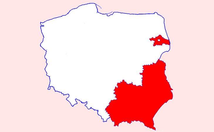 'Zonas libres de LGTB' en Polonia señaladas en rojo