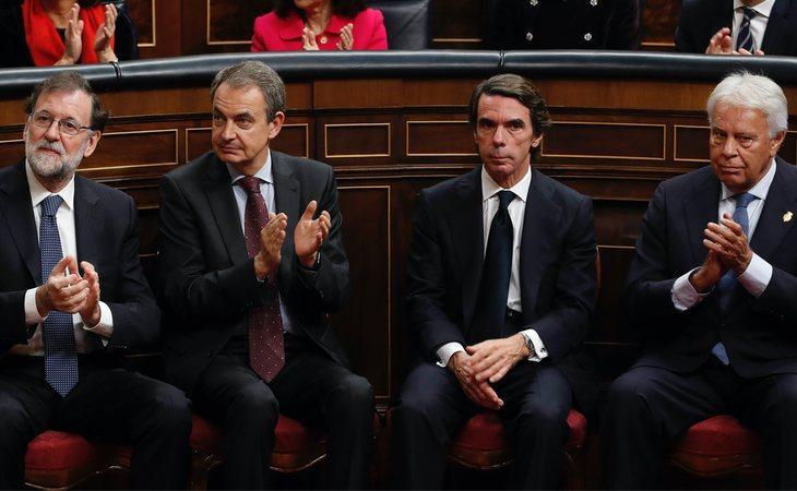 Mariano Rajoy, José Luis Rodríguez Zapatero, José María Aznar y Felipe González
