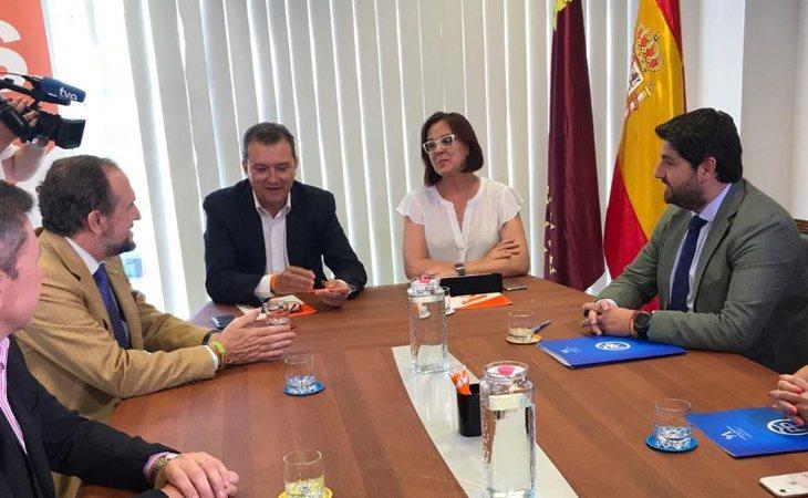 Líderes de VOX, Ciudadanos y PP en Murcia durante los acuerdos para formar Gobierno