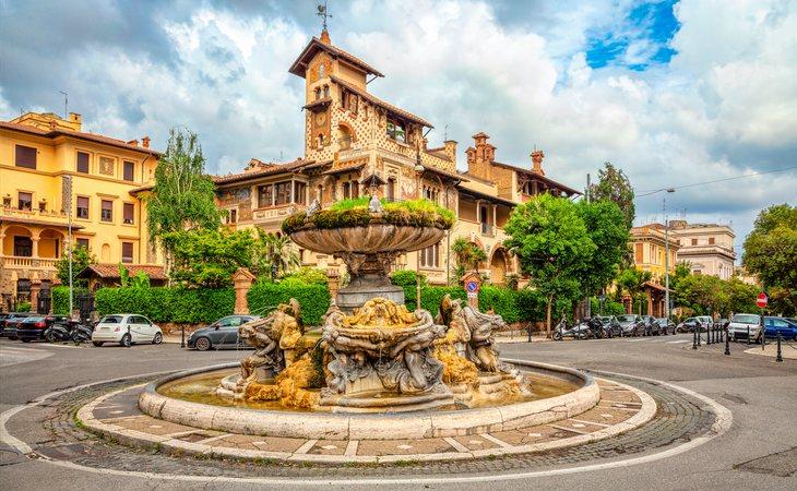 Uno de los múltiples palacetes del barrio de Coppdè en Roma